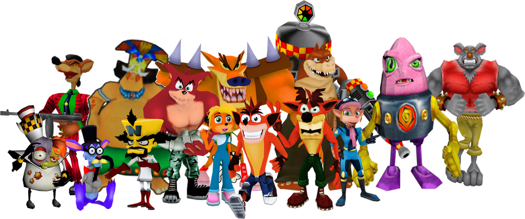 Crash Bandicoot with friends and enemies by Bandidude on ...