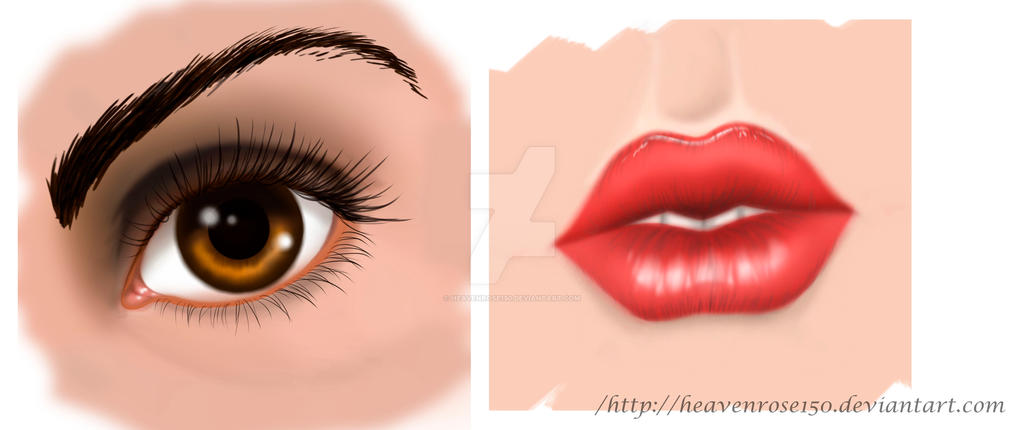 Realistic eye and mouth by HeavenRose150