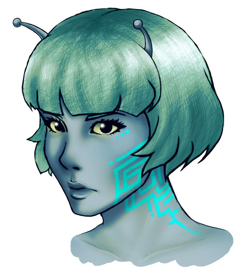 Weekly sketch #1 - Alien girl by HeavenRose150