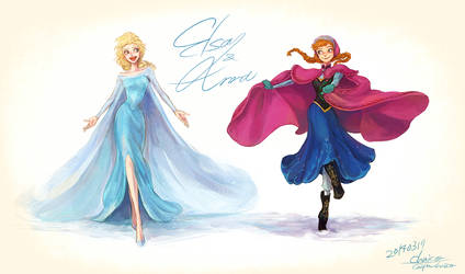 Elsa and Anna by chacckco