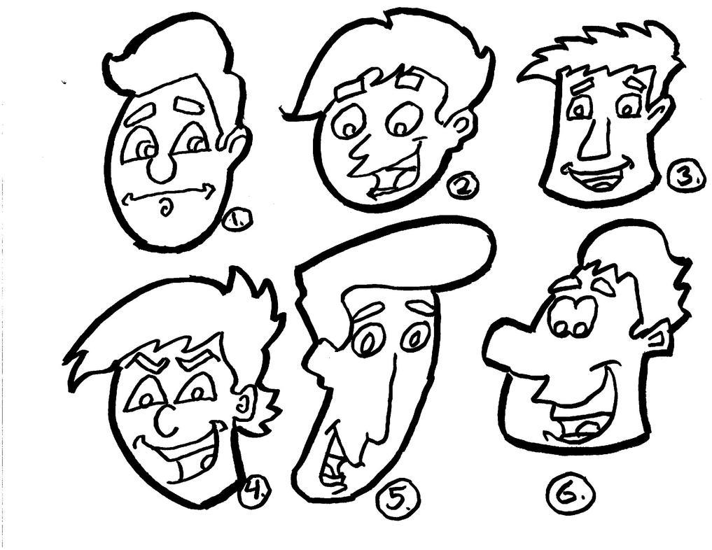 cartoon heads original lineart by mischief makerstudio on deviantart