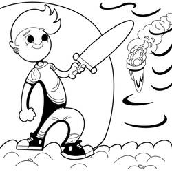Boy with sword original line art