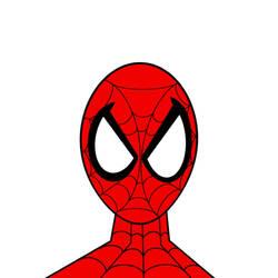 Spider-Man line art completed in color