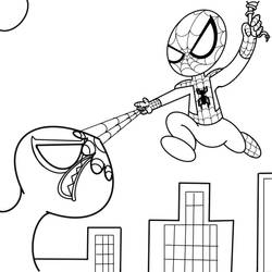 Little Spidey shunting up Venom line art