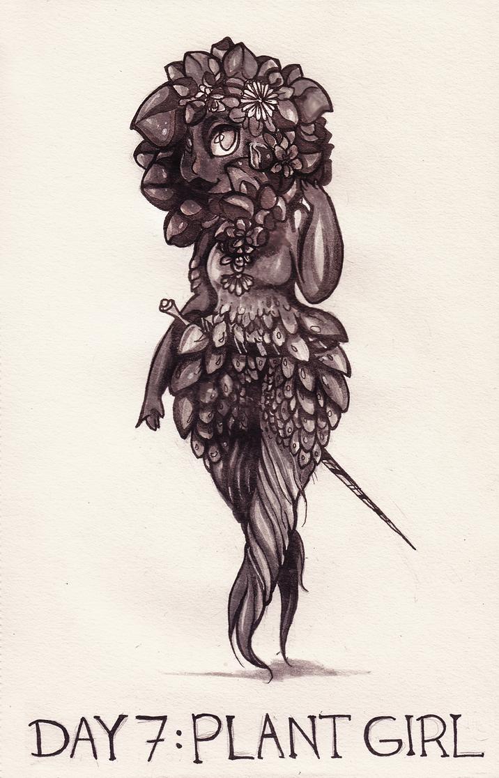 [DD] Inktober-Day7: Plant Girl by Szczurzyslawa
