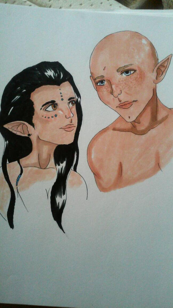 Solas and Iyndreth  by MadamSylph