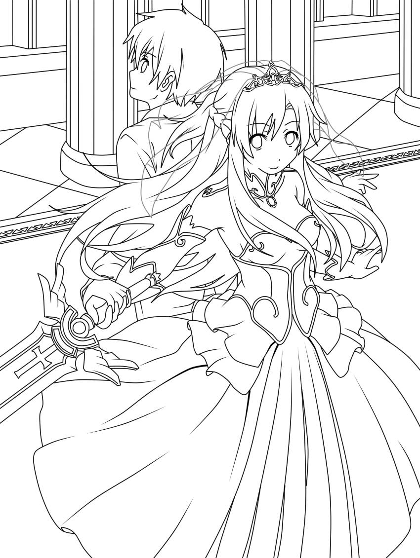 Sword art online kirito and asuna wedding lineart by for Coloring pages sword