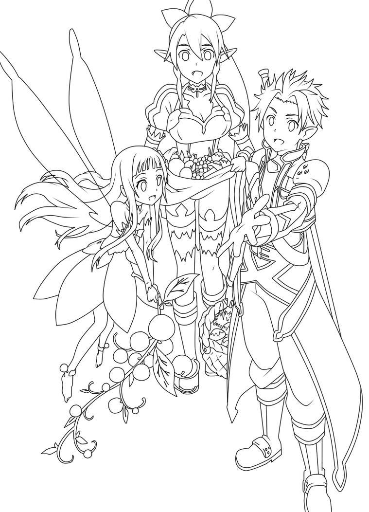 kirito and asuna coloring pages - sword art online kirito yui and leafa lienart by