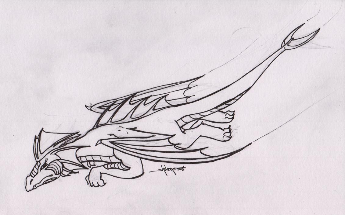 Inktober 1: Fast Dragon by Shikogo