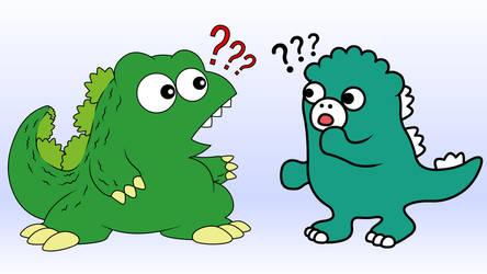 Two chibi Godzillas meet!