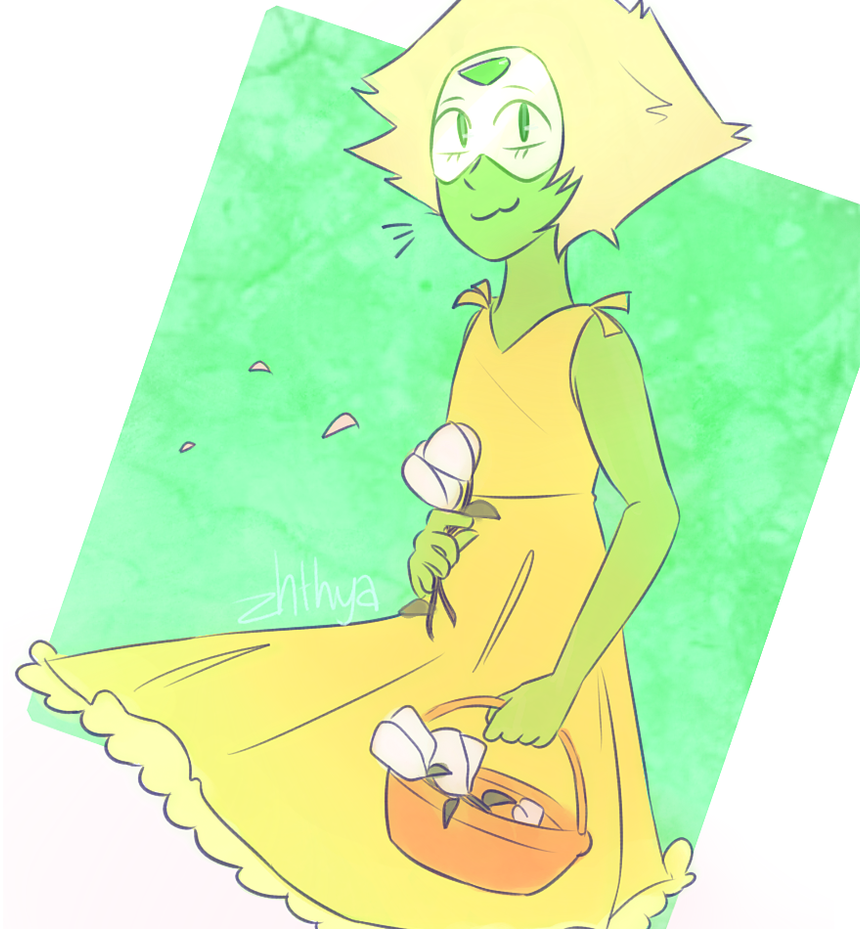 Peridot in her lil dress is so cuteeeee and i messed it up.  GAHHHHH I GOT THE FLUFF WRONG oh well;;  its been so long since i posted oof ____________________ character from Steven Univer...