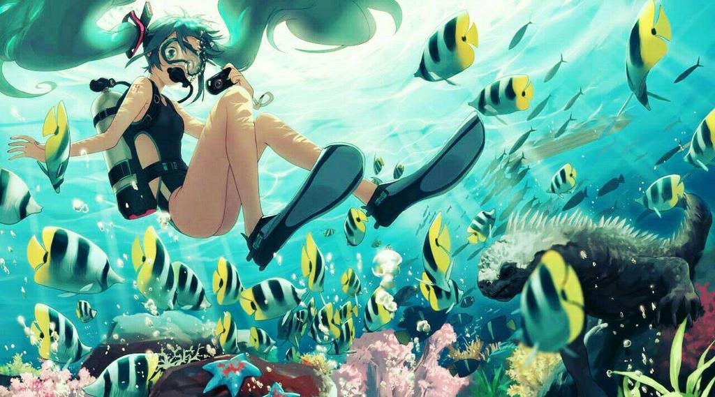 Hatsune Miku  Diving by InfinityGodAsura