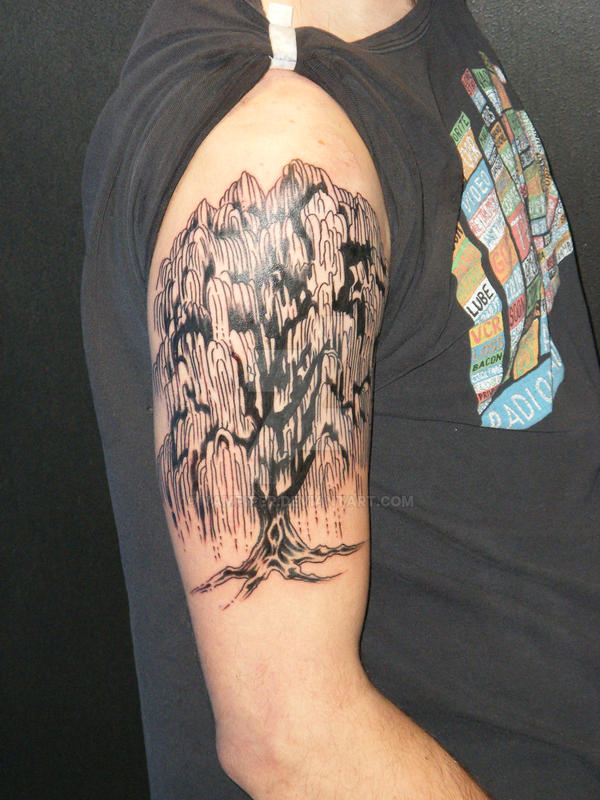 Weeping Willow Tree Black And White Tattoo Weeping Willow by vamp...