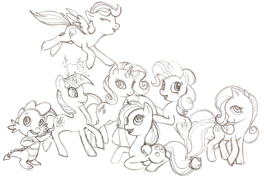My little pony sketch mane 6 and spike by harusame on for Mlp coloring pages mane 6