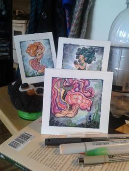 A trio of tiny mermaids
