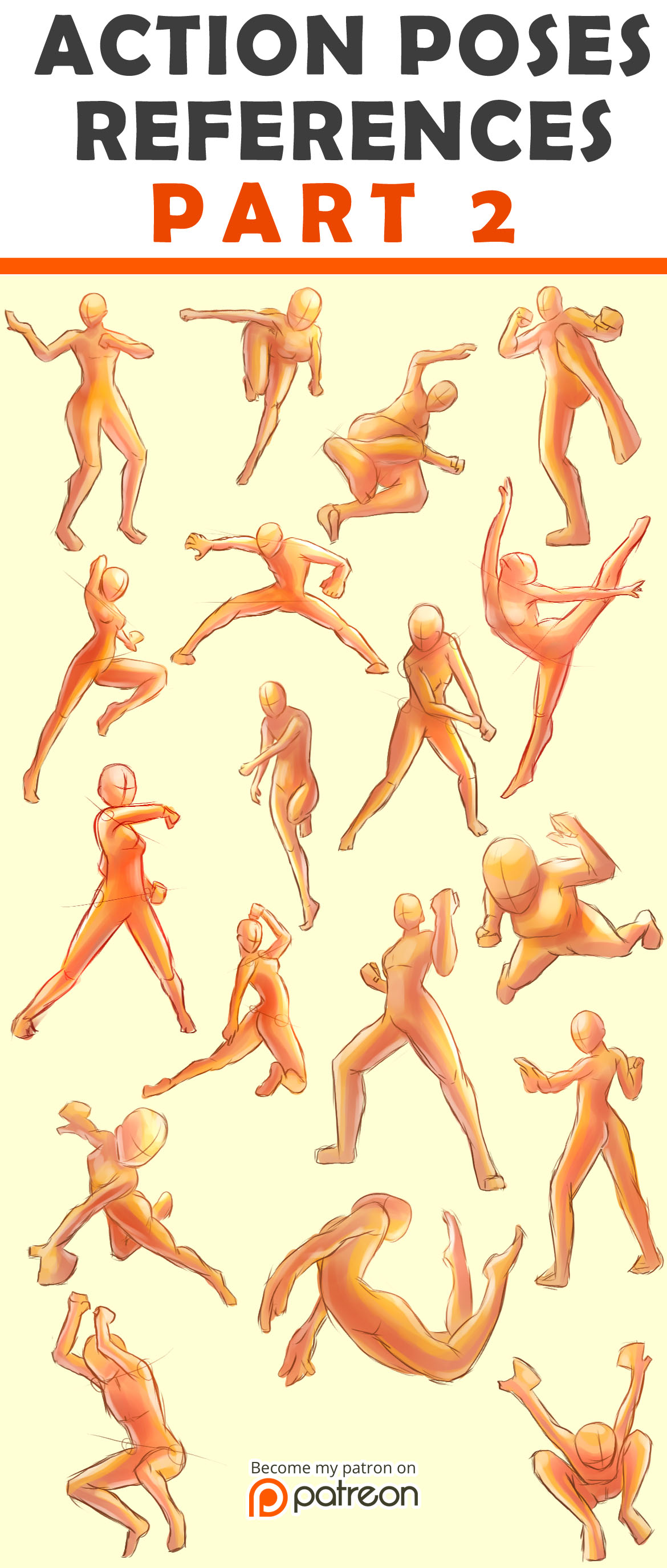 Action Poses Reference Sheet #2