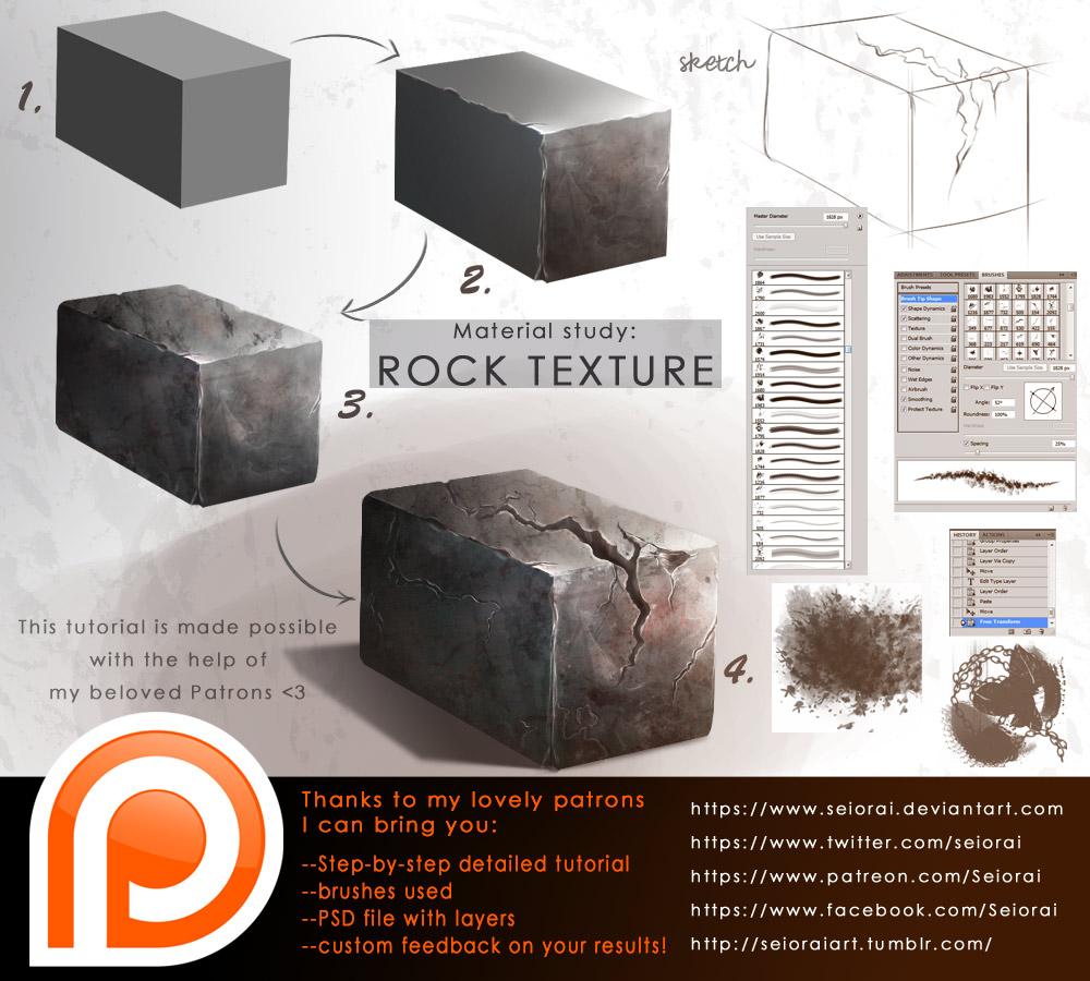 Tutorial texture rock on drawing tutorial deviantart tutorial material study worn rock by seiorai baditri Gallery