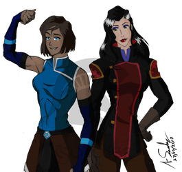 Korra and Asami by KSoldier