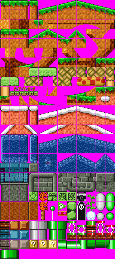 Super Mario Bros Tileset Sonic Style