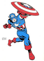 Captain American drawn by Steve Rude (colorized)