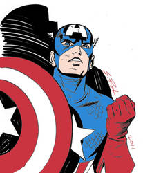 Captain America Drawn by Steve Rude (Colorized)