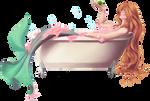 Commission - Mermaid in a tub