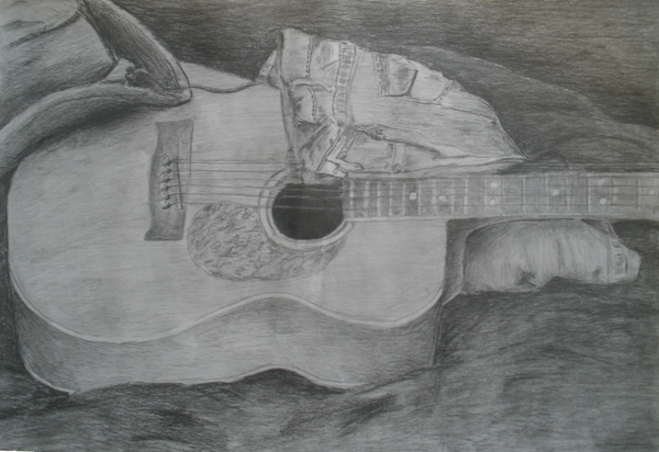 Still Life Drawing Guitar Guitar still life by Pencil Drawing Pictures Of Flowers