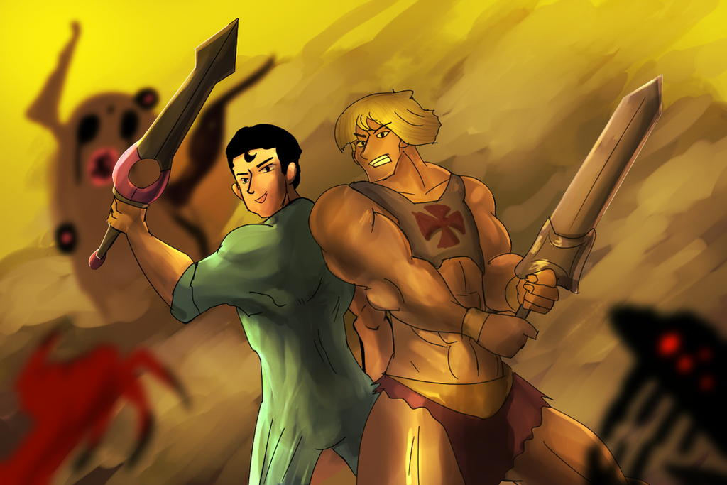 2 Guys Vs Demon by mondchan123