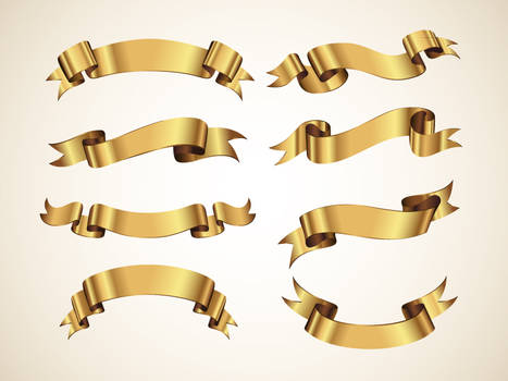 Free Golden Vector Ribbons Set