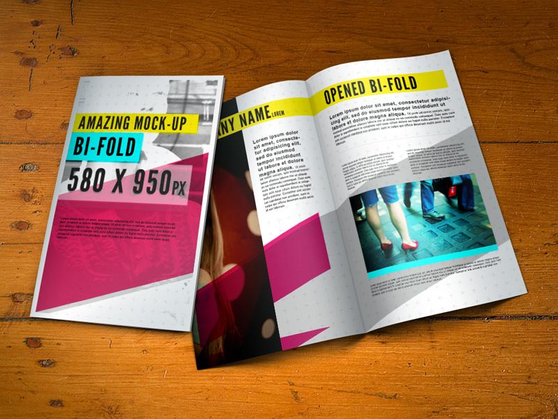 Free Bifold Brochure Mock-Up by Pixeden