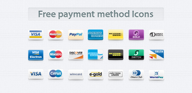 Free Payment Method Icons Set by Pixeden