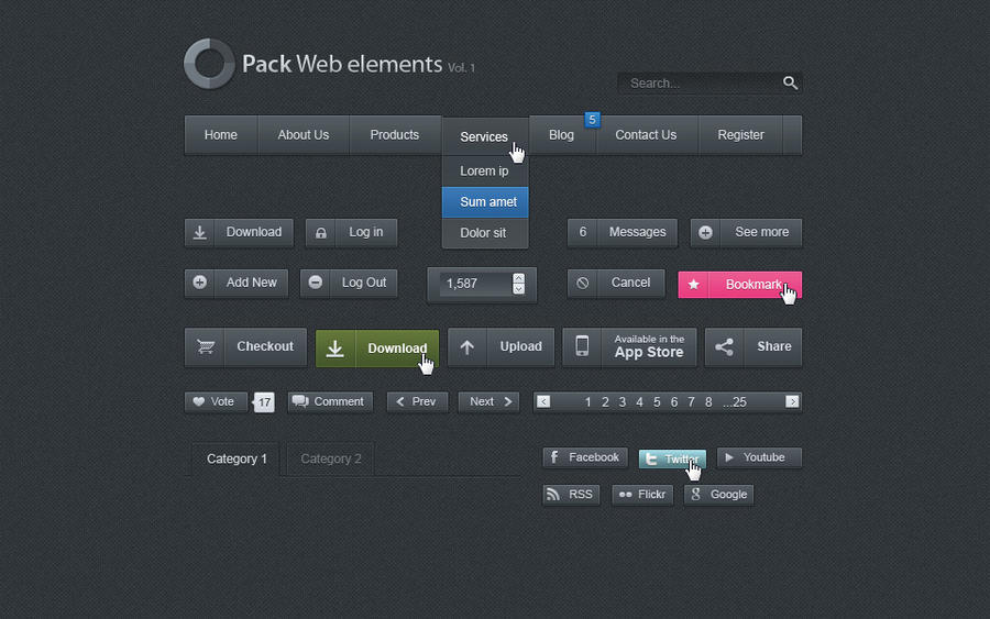 Free Dark Web UI Set