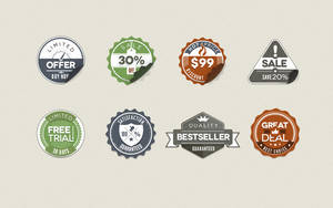 Free Vintage Stickers Badges by Pixeden