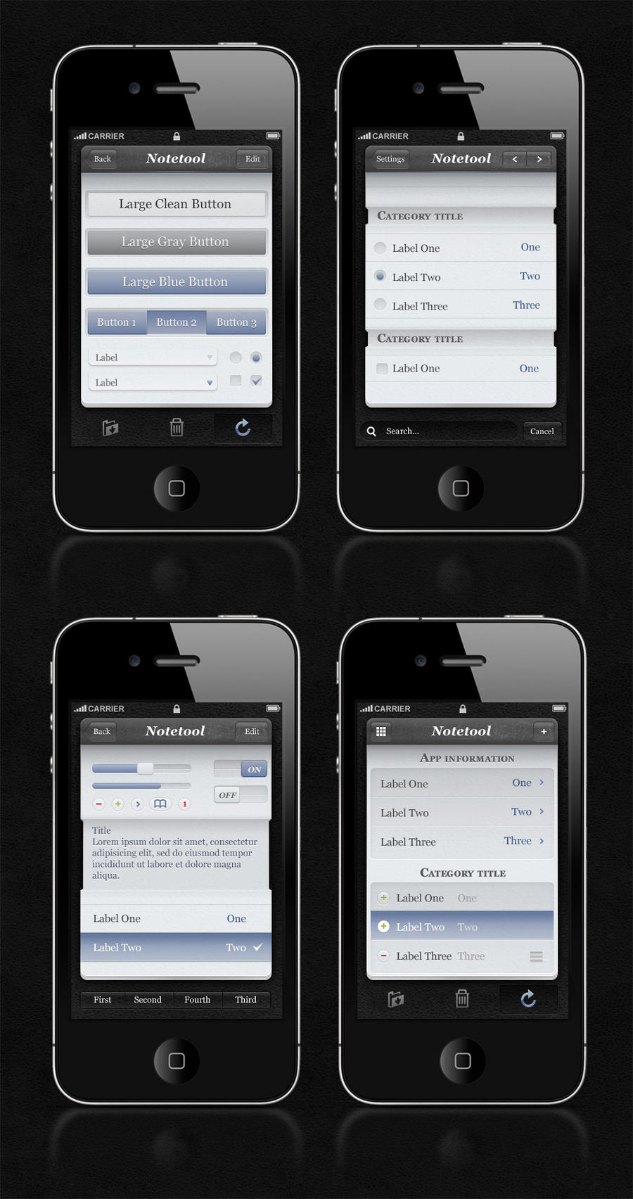 Free iPhone App UI Kit Psd by Pixeden