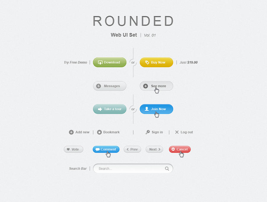 Free Rounded Psd Web UI Set by Pixeden
