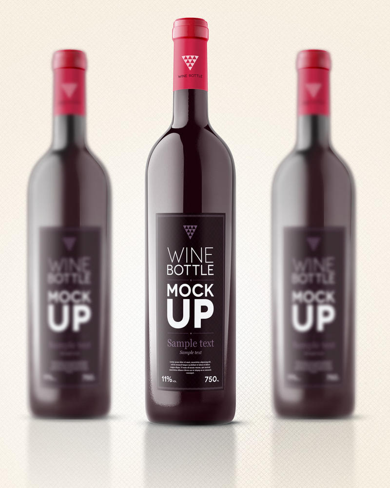 Free Psd Wine Bottle Mockup Template by Pixeden