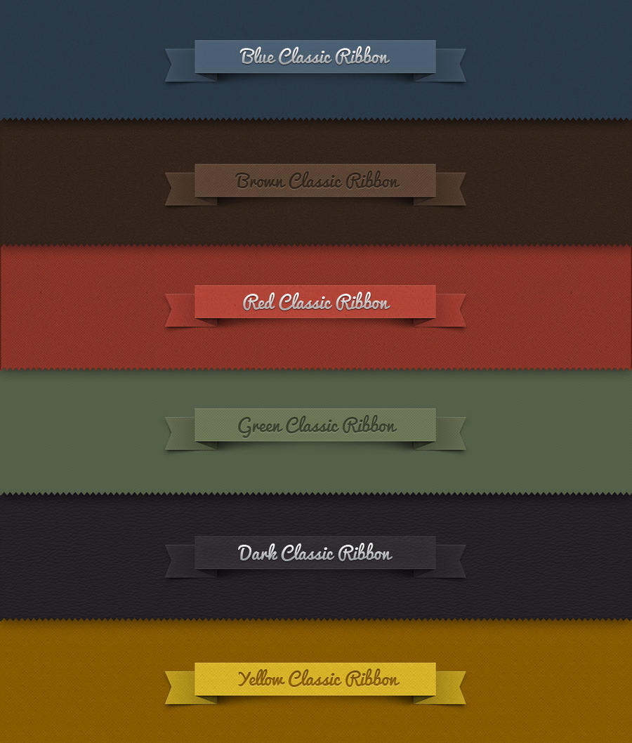 Free Psd Ribbon Classic Set by Pixeden