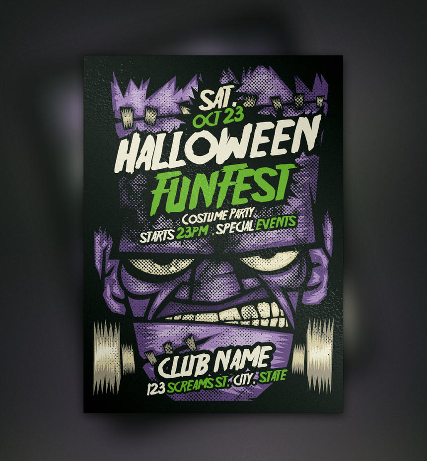 Free Franky Halloween Flyer Template By Pixeden On DeviantArt - Free halloween flyer templates