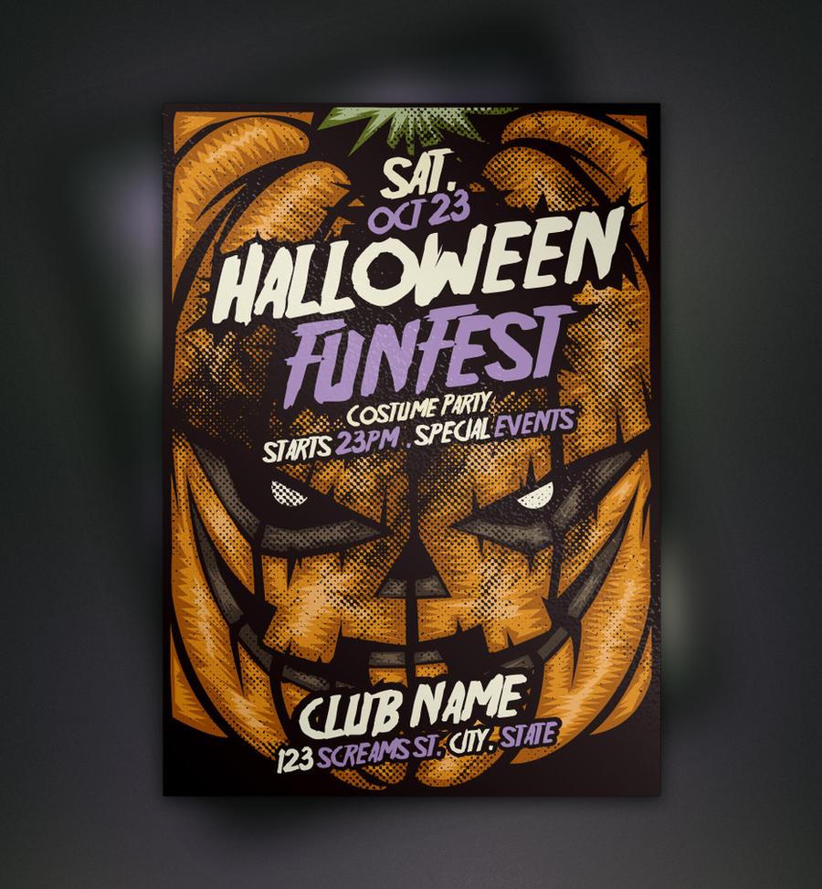 Free Pumpkin Halloween Flyer Template by Pixeden