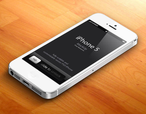 Free White 3D iPhone 5 Psd Vector Mockup