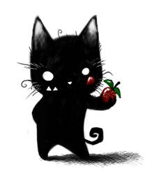 Kitty Likes Strawberries by Plognark