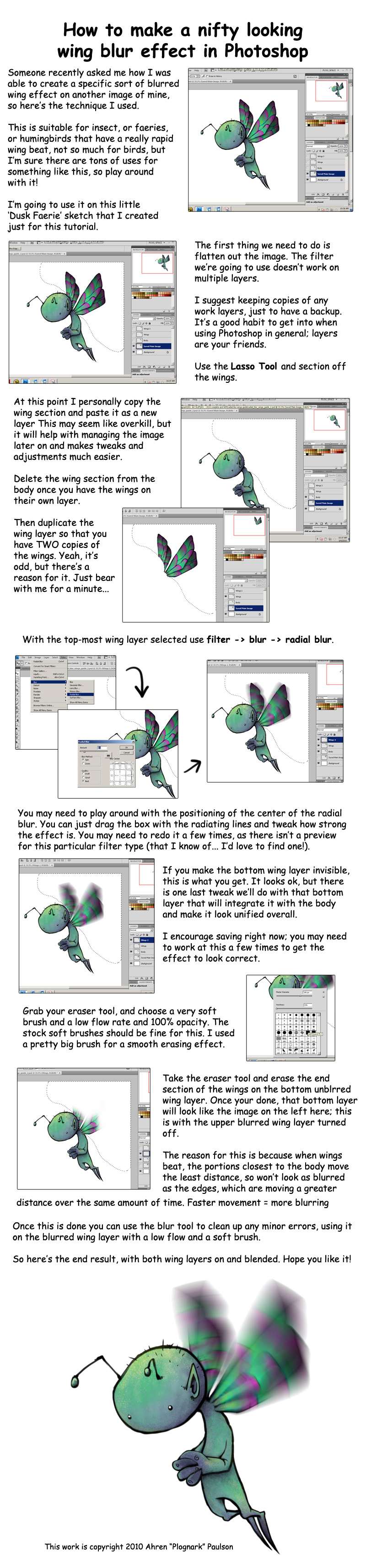 Blurred Insect Wing Tutorial by Plognark