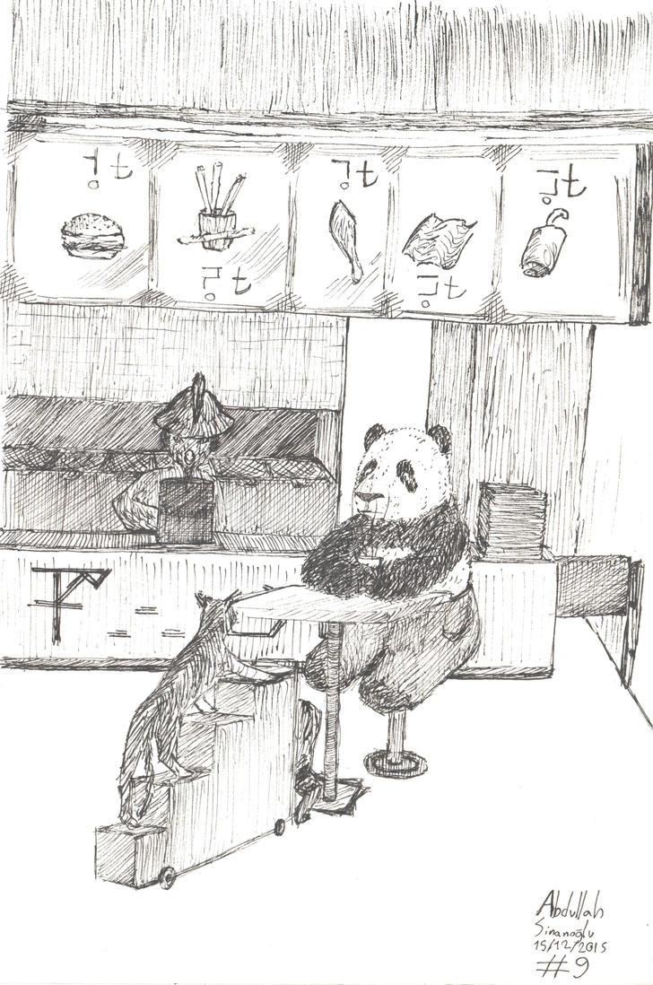 Panda in a Restaurant -09 by freeart259