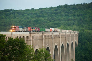 Massive Train on a Massive Bridge by sullivan1985