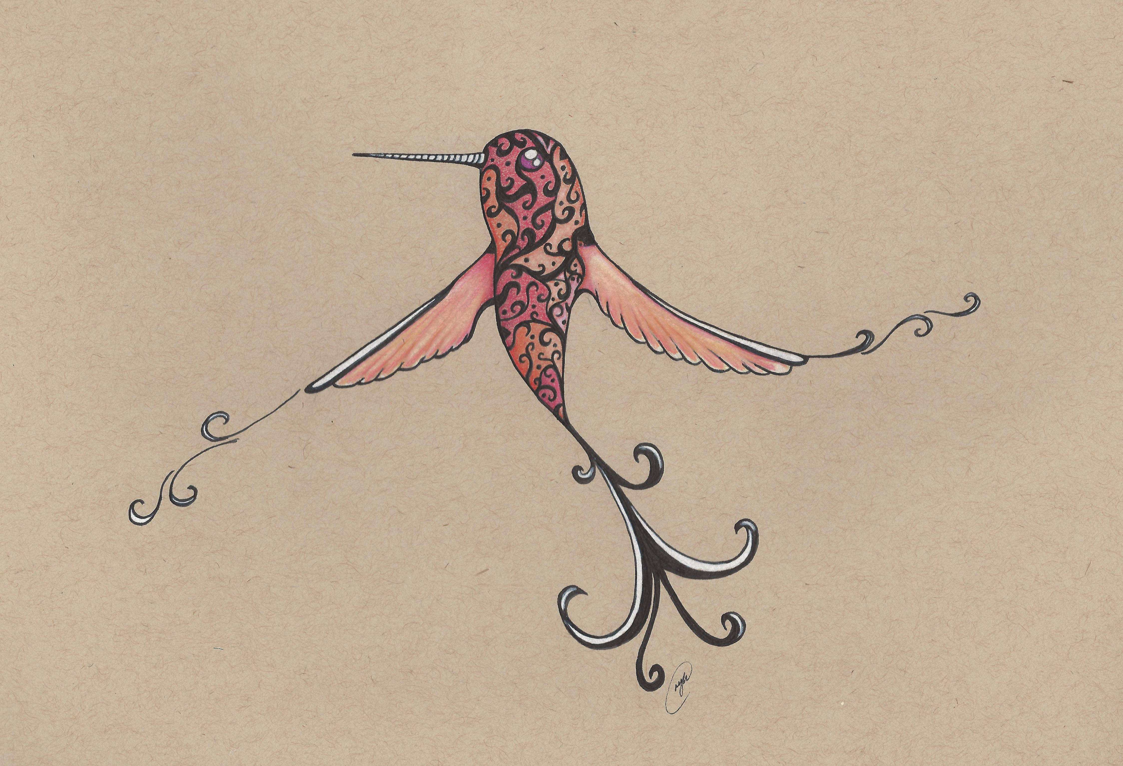 Swirly Hummingbird by NickiDoodles