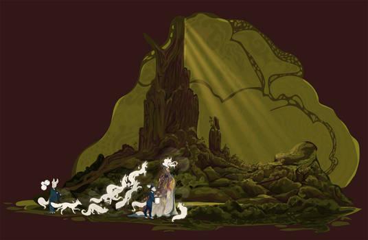 Kitsune Host Moves through the Forest