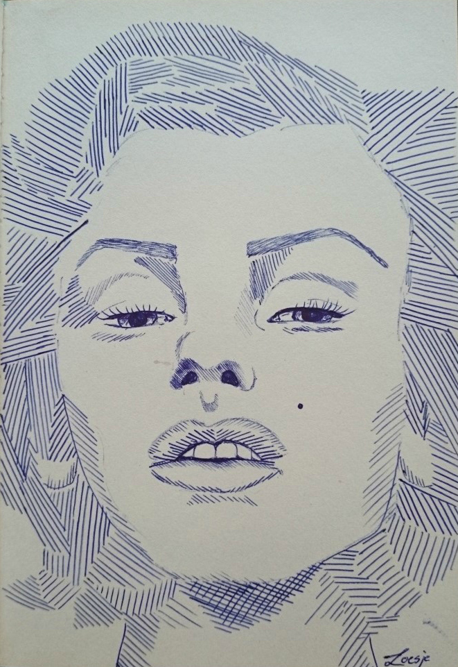 Marilyn Monroe pen drawing by LO3SJ3