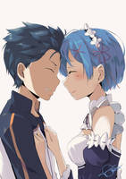 Fan art Subaru and Rem from Re Zero by Genocide06