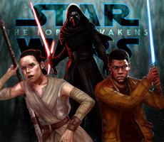 Star Wars The Force Awakens : Finn, Rey, Kylo Ren by Reiup