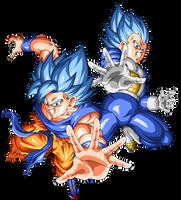 Goku and Vegeta Super Saiyajin Blue by arbiter720